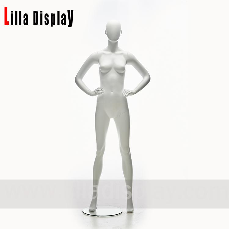 თეთრი მქრქალი უღიმღამო ქალი სპორტული სპორტული ფიტნეს -მანეკენი მოქნეული ხელებით JS02